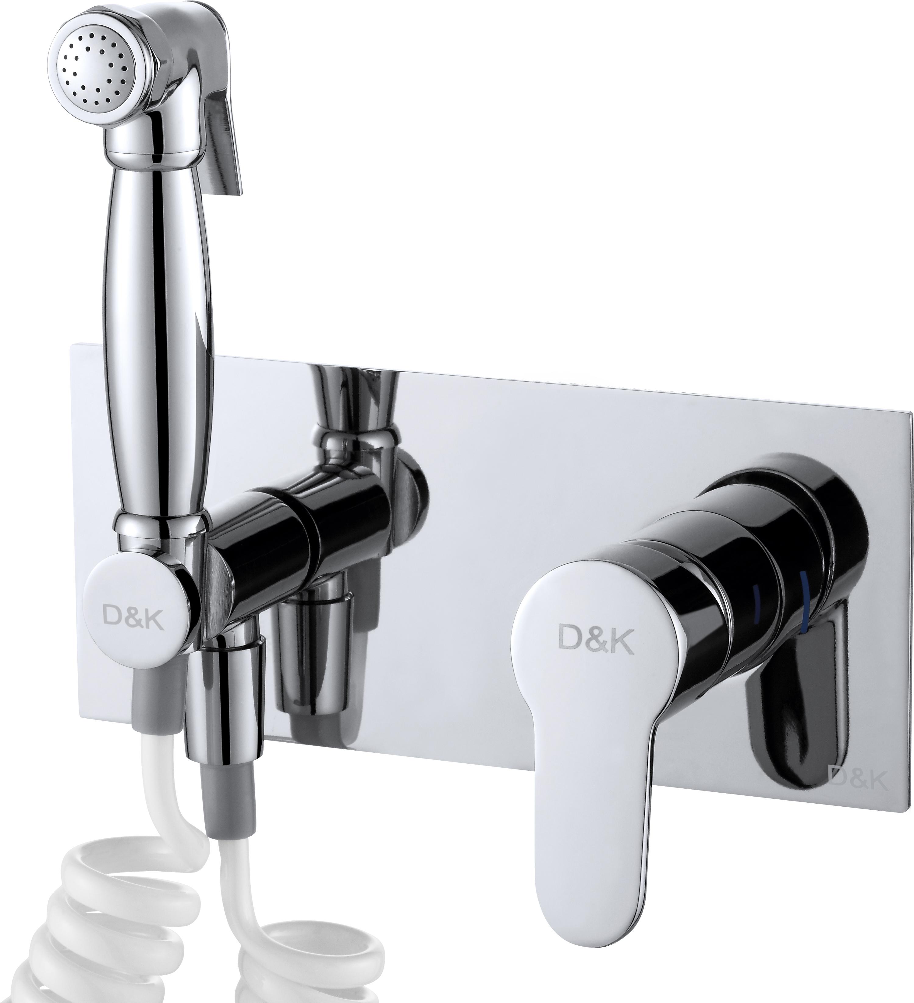 Смеситель для душа D&K Rhein.Marx DA1394501 с гигиеническим душем встраиваемый хром