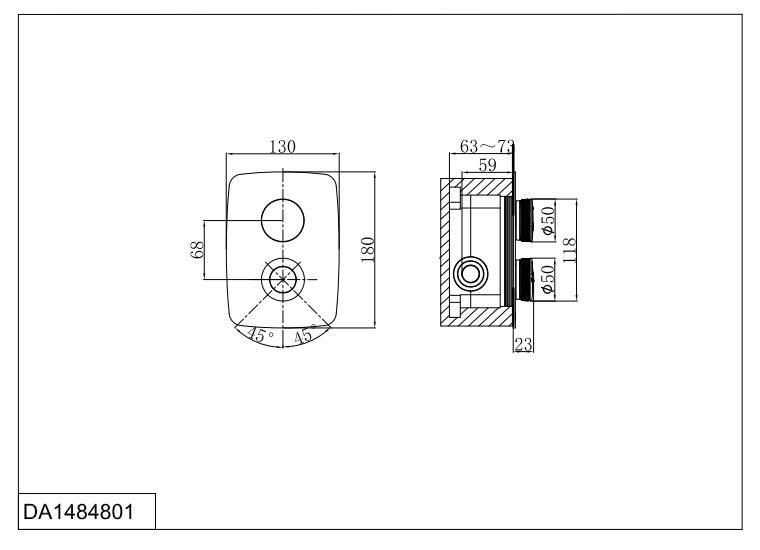 Смеситель для ванны и душа D&K Bayern.Alfeld DA1484801 встраиваемый хром