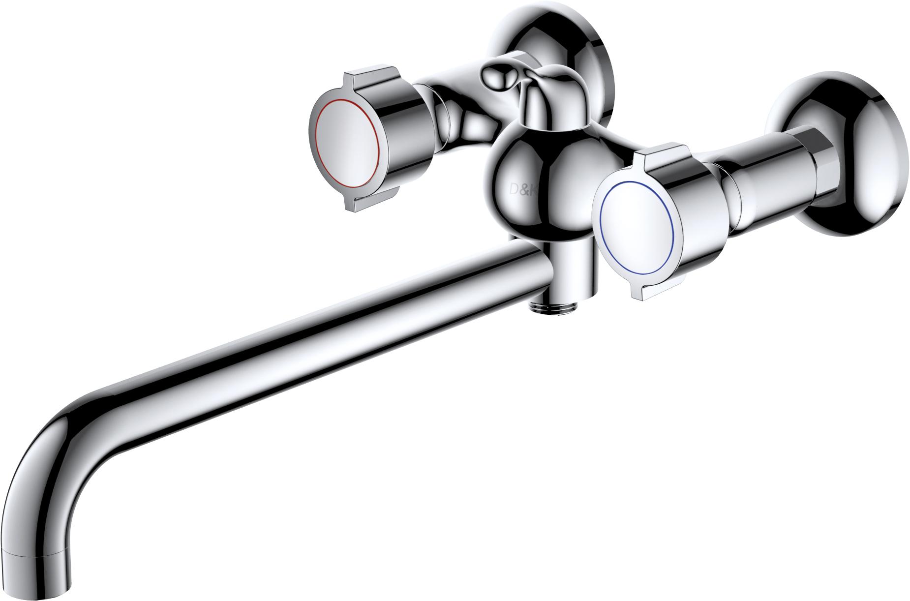 Смеситель для ванны с душем D&K Нessen.Torhall DA1413341 длинный излив хром