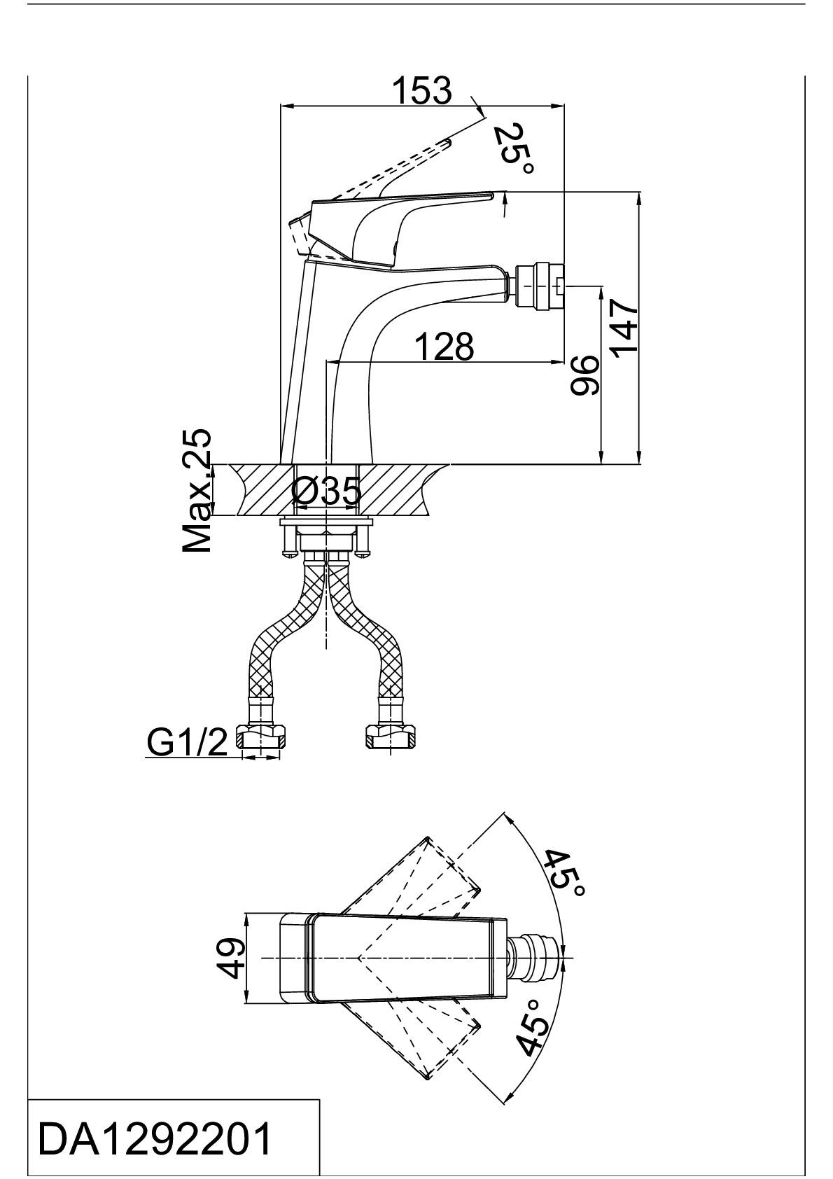 Смеситель для биде D&K Rhein.Hertz DA1292201 хром