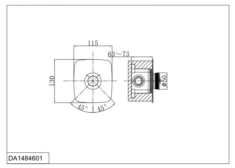 Смеситель для ванны и душа D&K Bayern.Alfeld DA1484601 встраиваемый хром
