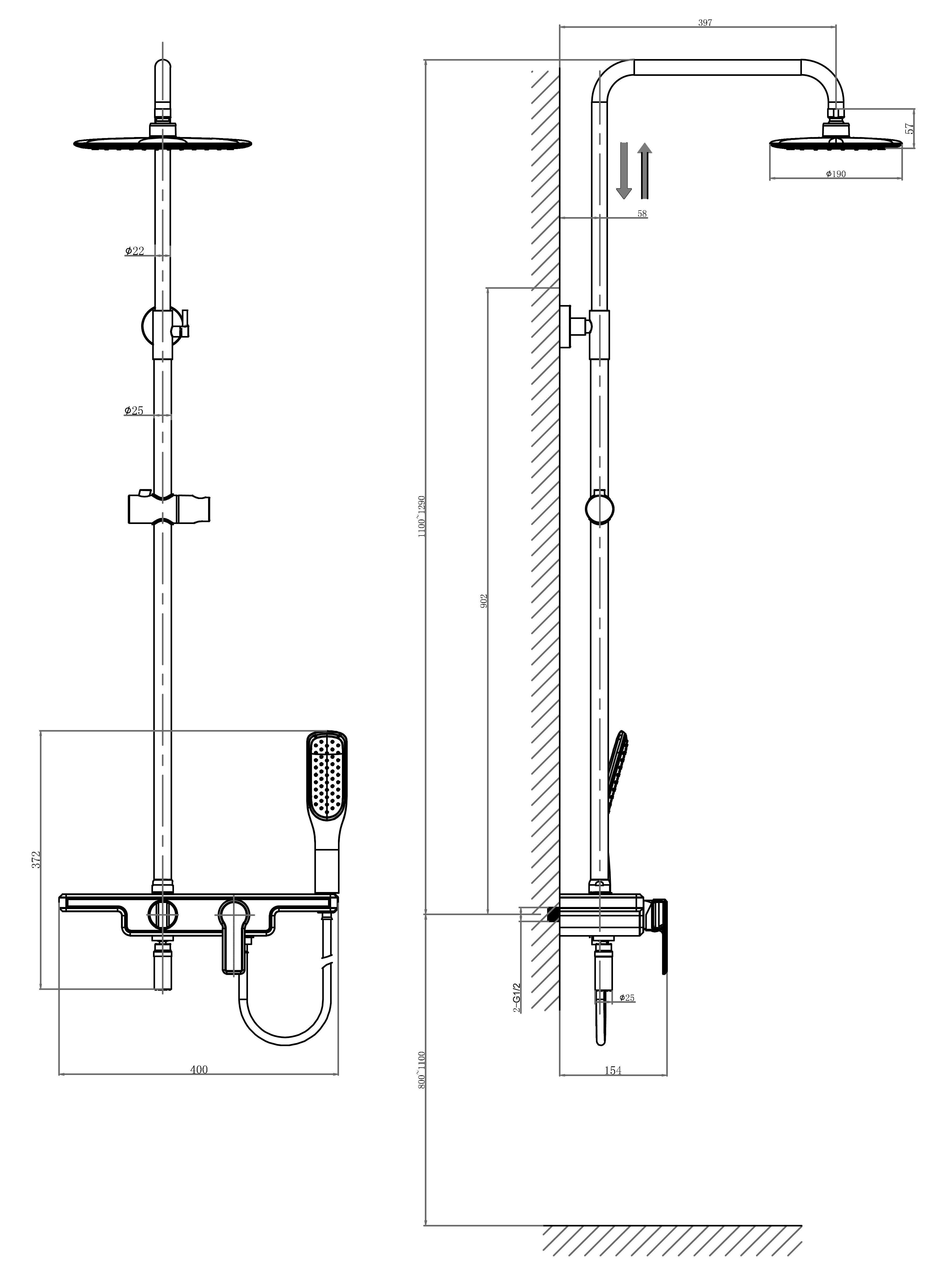 Душевая система D&K Berlin.Kunste DA1453713B13 оранжевый-хром