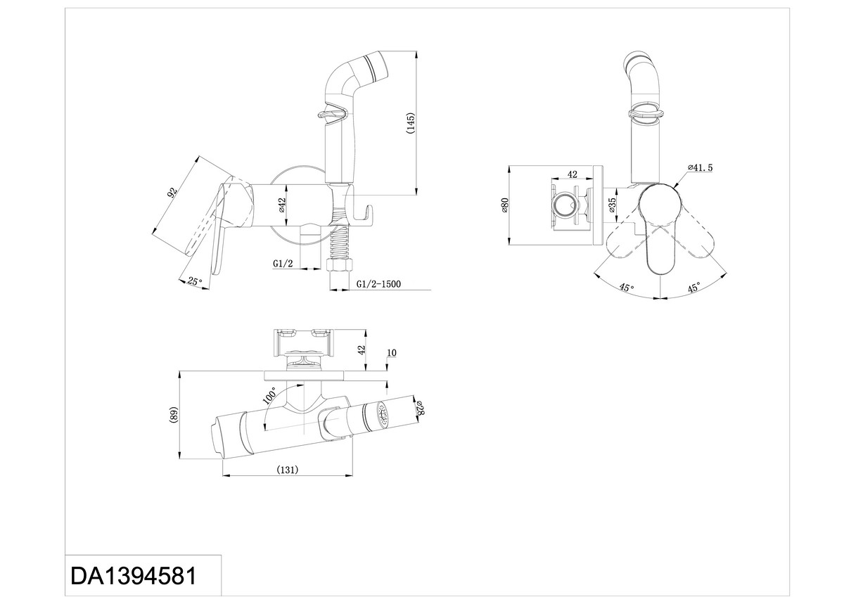 Смеситель для душа D&K Rhein.Marx DA1394581 с гигиеническим душем встраиваемый хром