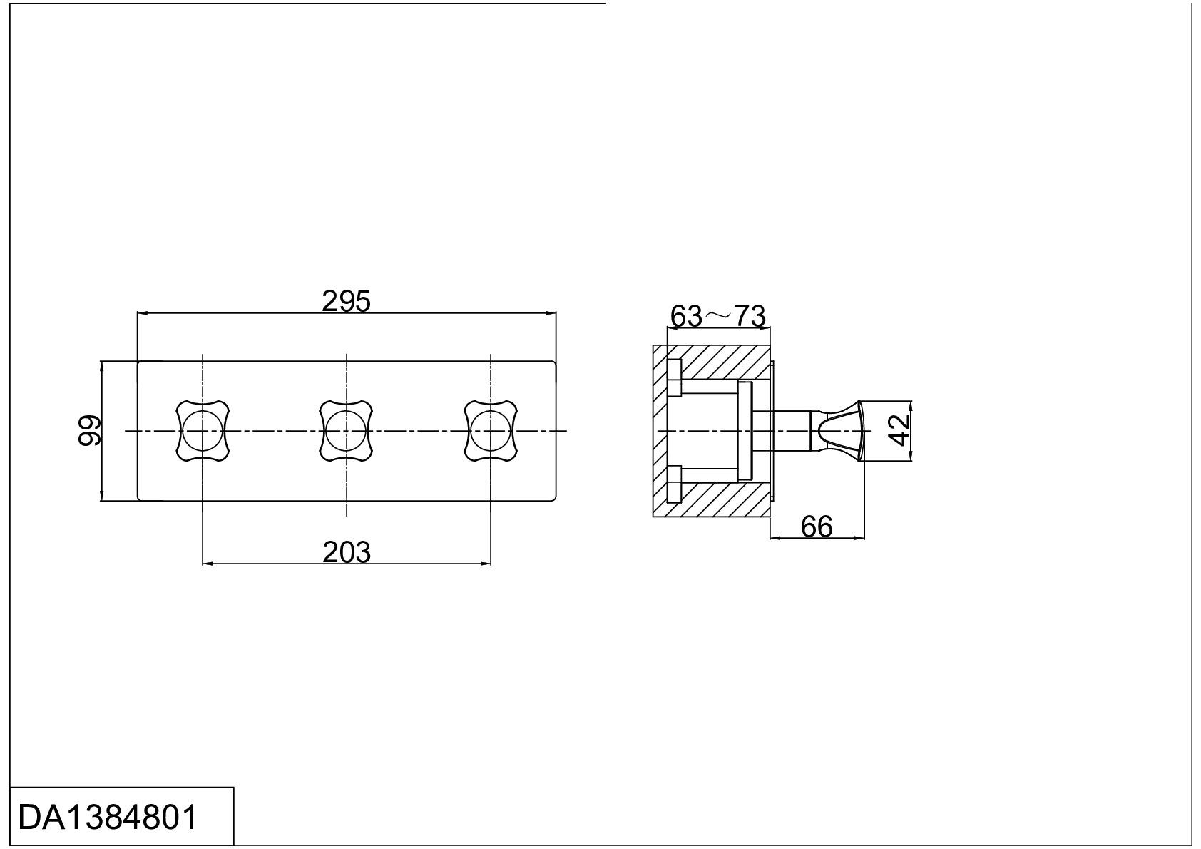 Смеситель для ванны и душа D&K Hessen.Grimm DA1384801 встраиваемый хром