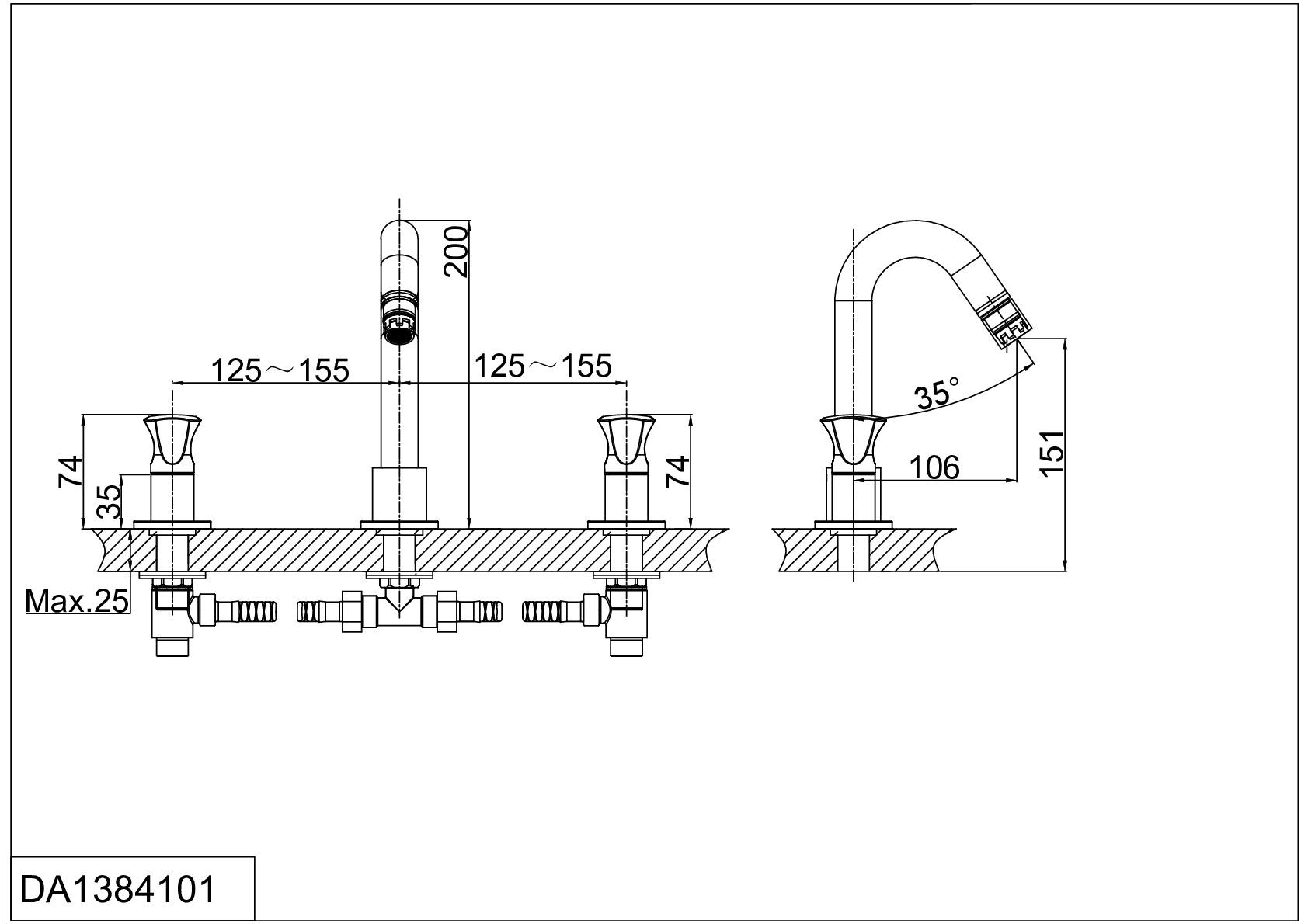 Смеситель для раковины D&K Hessen.Grimm DA1384101 хром