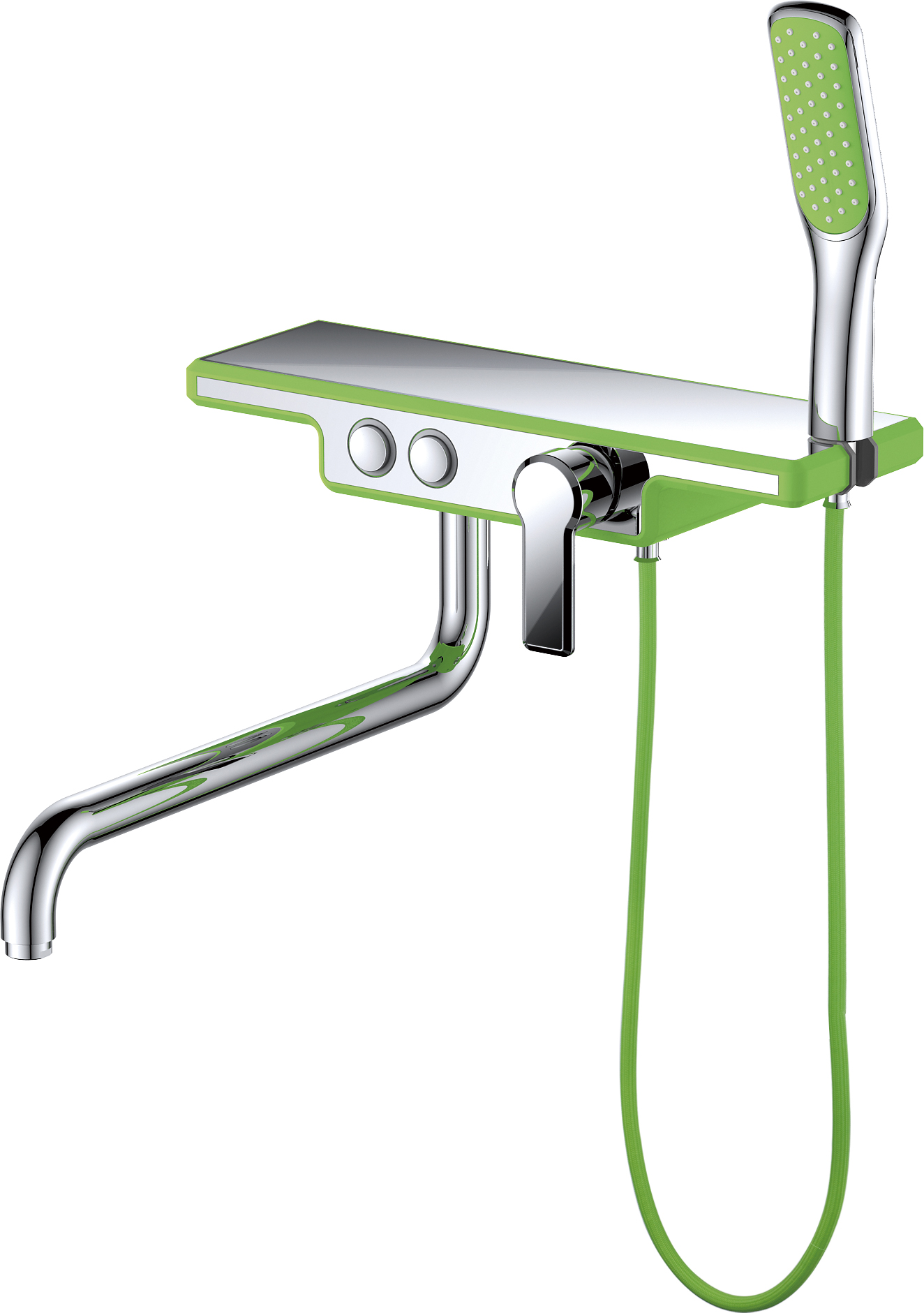 Смеситель для ванны с душем D&K Berlin.Humboldt DA1443312 длинный излив зеленый-хром