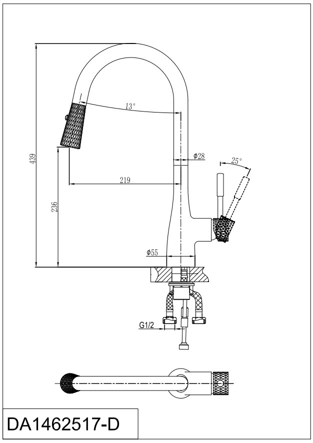 Смеситель для кухни D&K Rhein.Schiller DA1462517D с выдвижной лейкой черный-золото