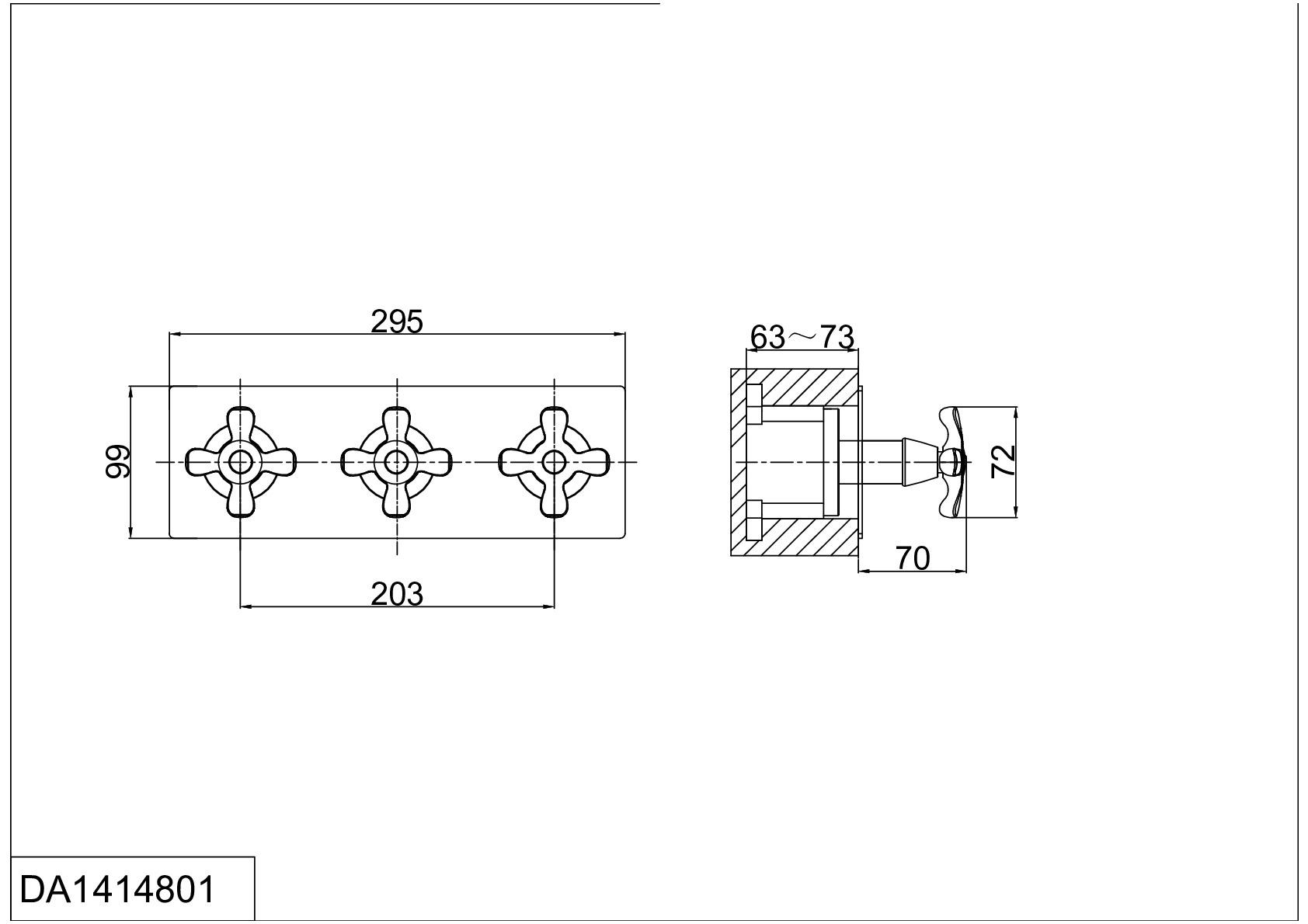 Смеситель для ванны и душа D&K Hessen.Lorsch DA1414801 встраиваемый хром