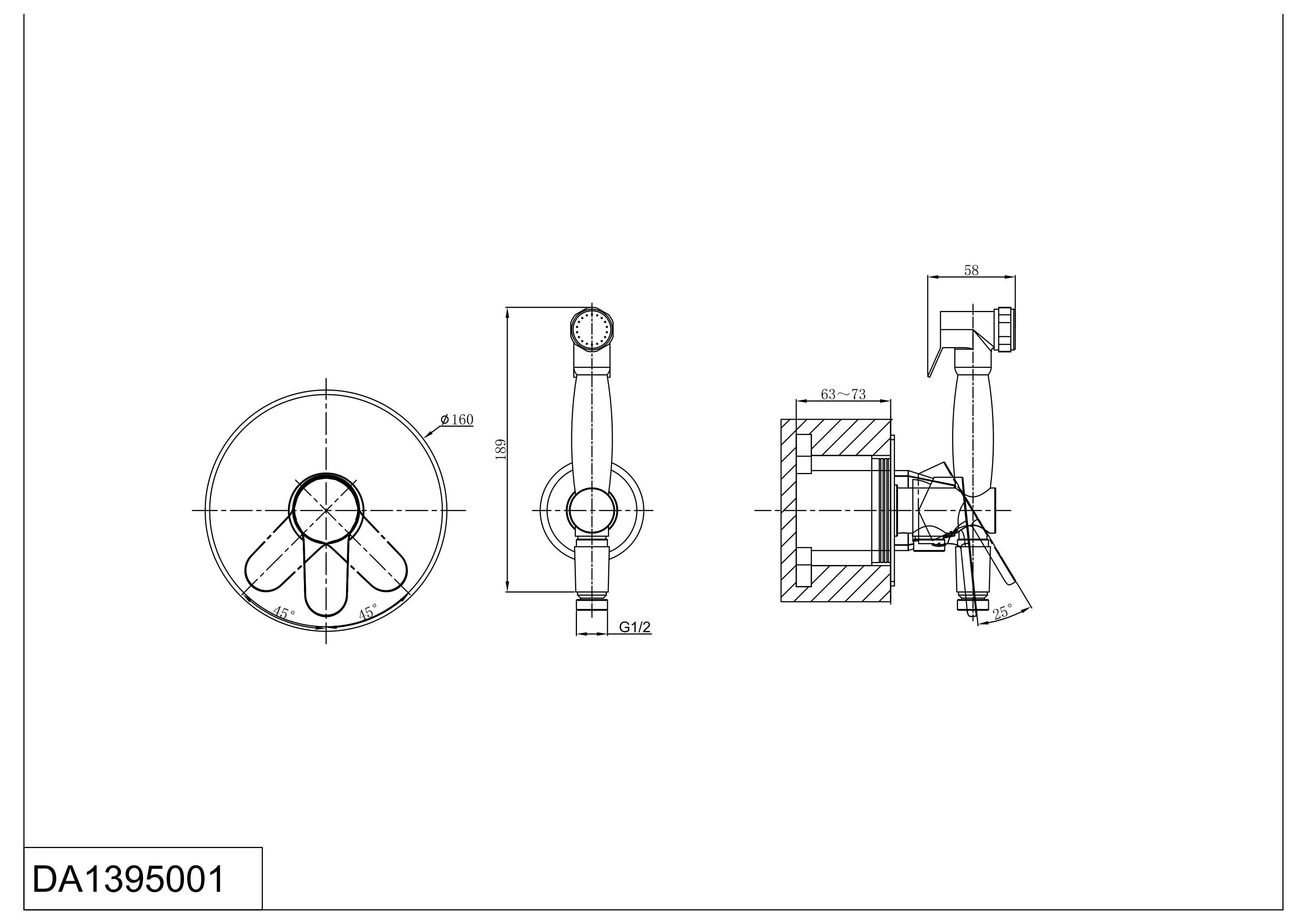 Смеситель душа D&K Rhein.Marx DA1395001 с гигиеническим душем встраиваемый хром