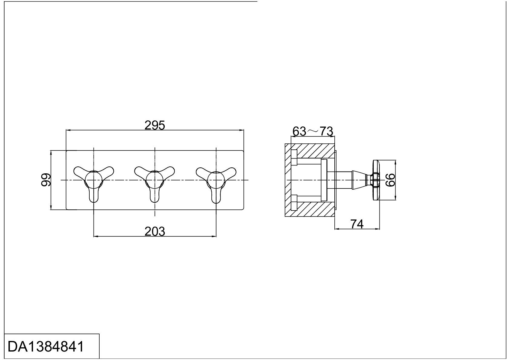 Смеситель для ванны и душа D&K Hessen.Goethe DA1384841 встраиваемый хром