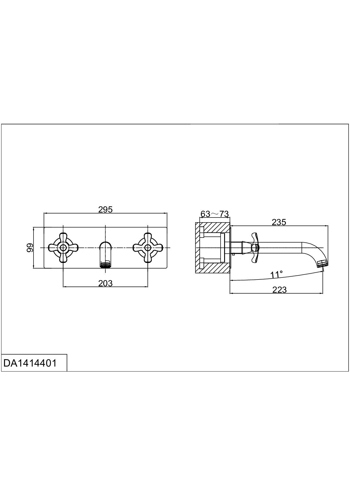 Смеситель для раковины D&K Hessen.Lorsch DA1414401 встраиваемый хром