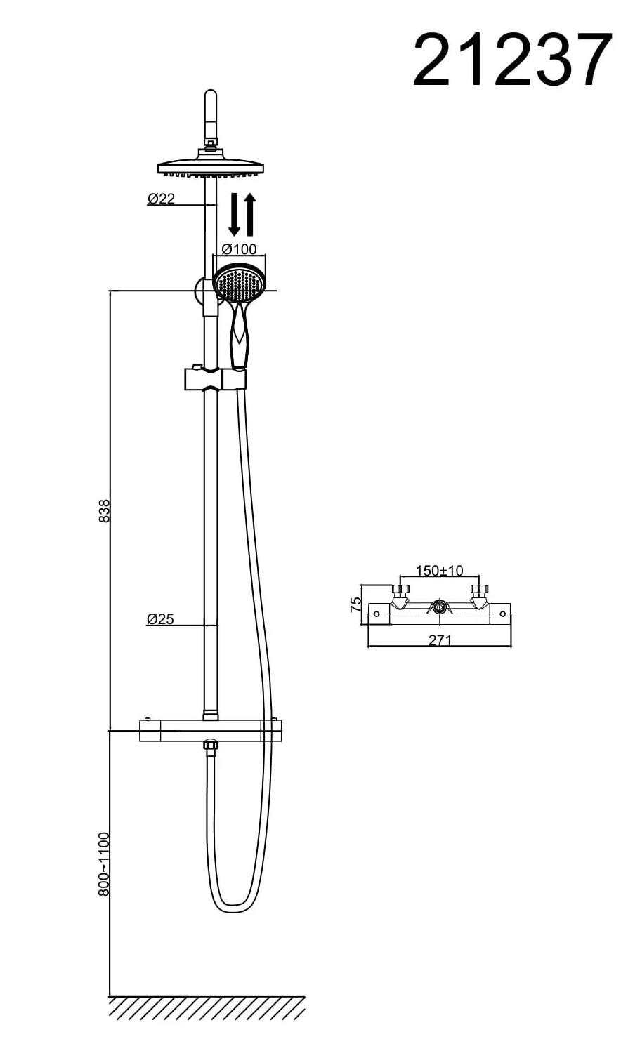 Душевая система D&K Bayern.Potsdam DA2123701B10 с термостатом хром