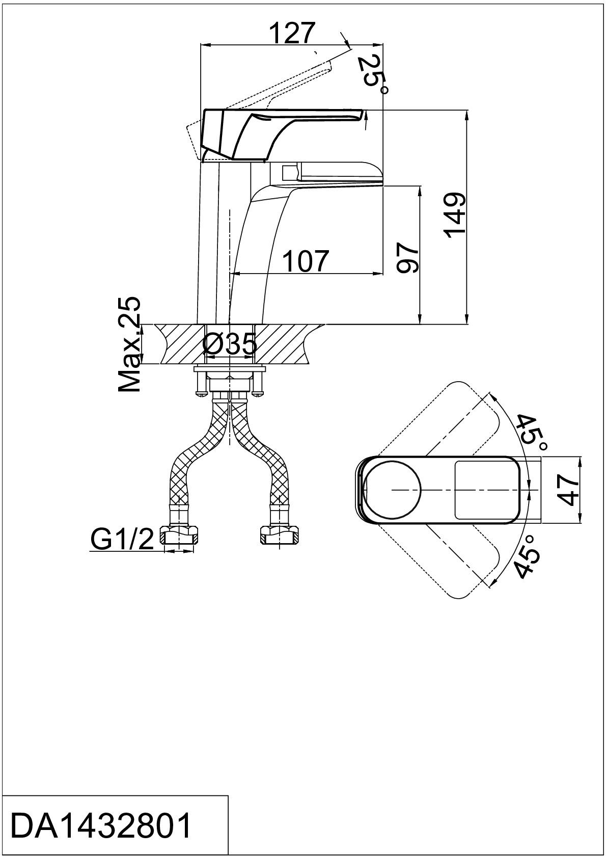 Смеситель для раковины D&K Berlin.Technische DA1432815 каскад черный-хром