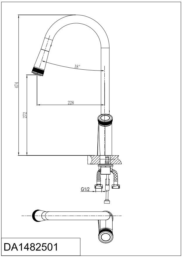 Смеситель для кухни D&K Bayern.Alfeld DA1482501 с выдвижной лейкой хром