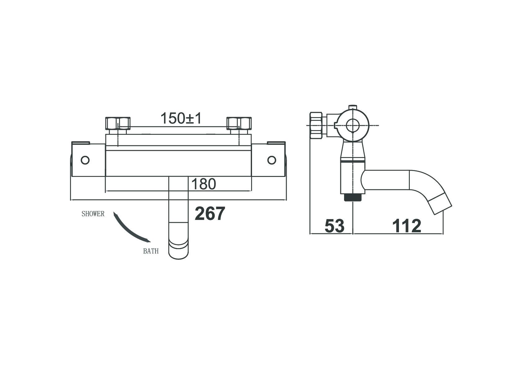 Термостат для ванны с душем D&K Bayern.Potsdam DA2153201 хром