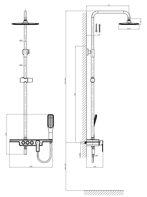 Душевая система D&K Berlin.Humboldt DA1443712B13 зеленый-хром
