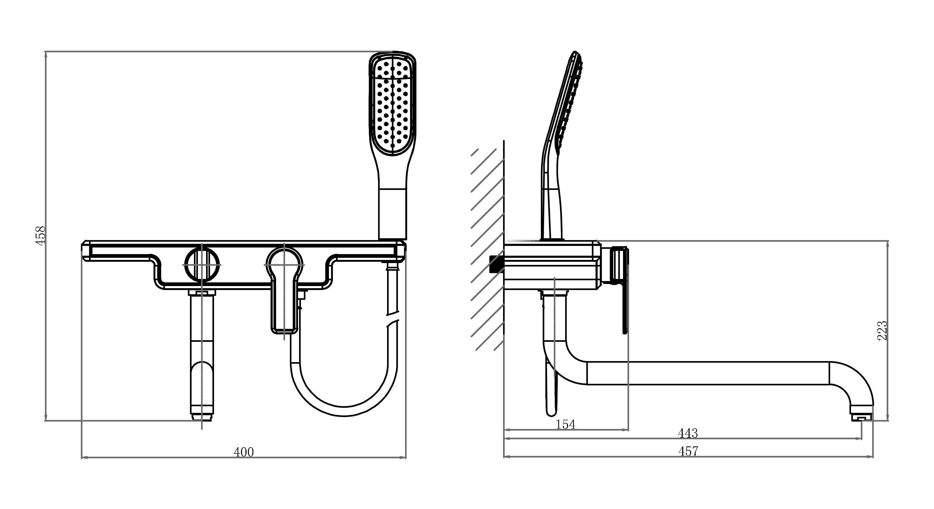 Смеситель для ванны с душем D&K Berlin.Technische DA1453315 длинный излив черный-хром