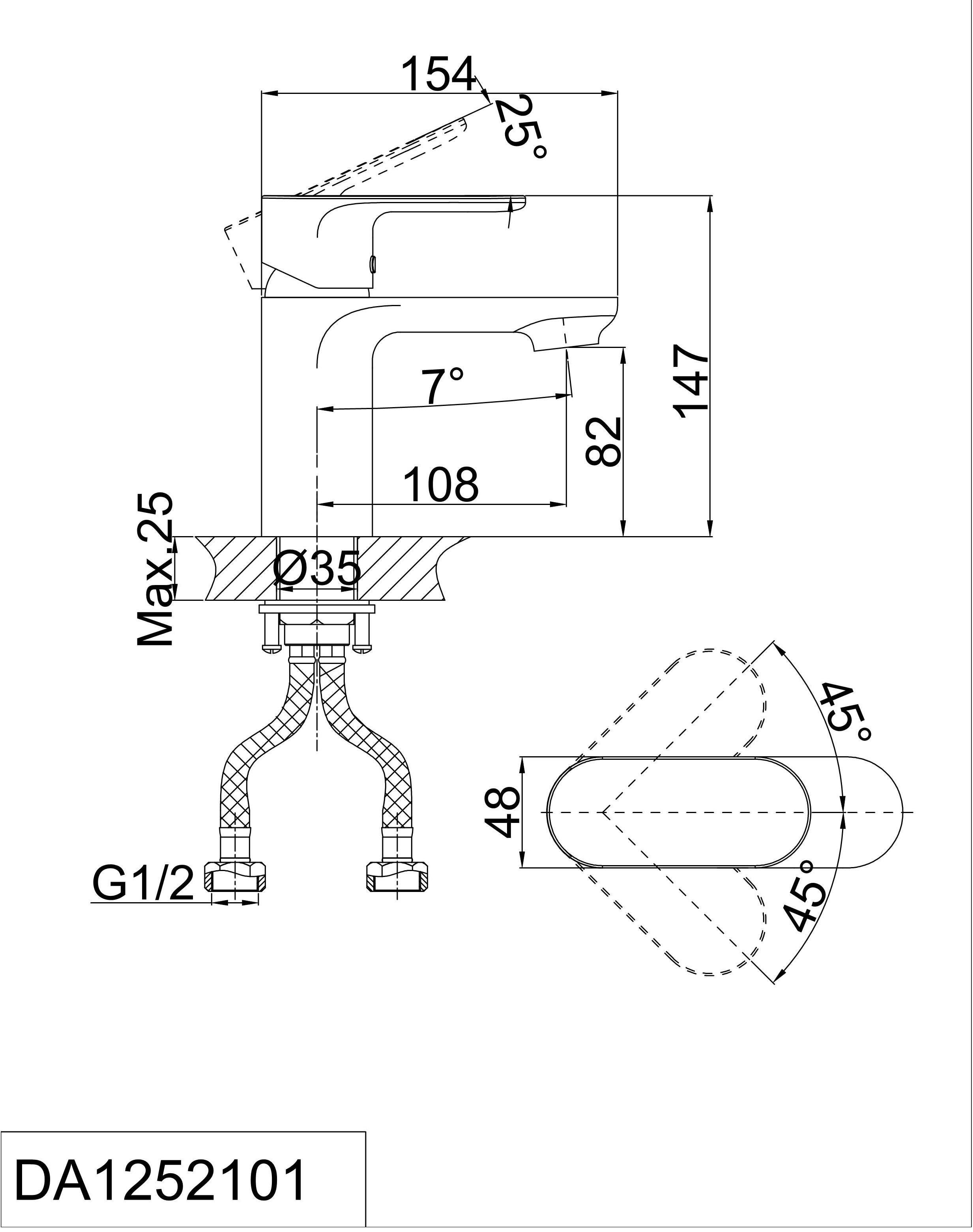 Смеситель для раковины D&K Bayern.Purer DA1252101 хром