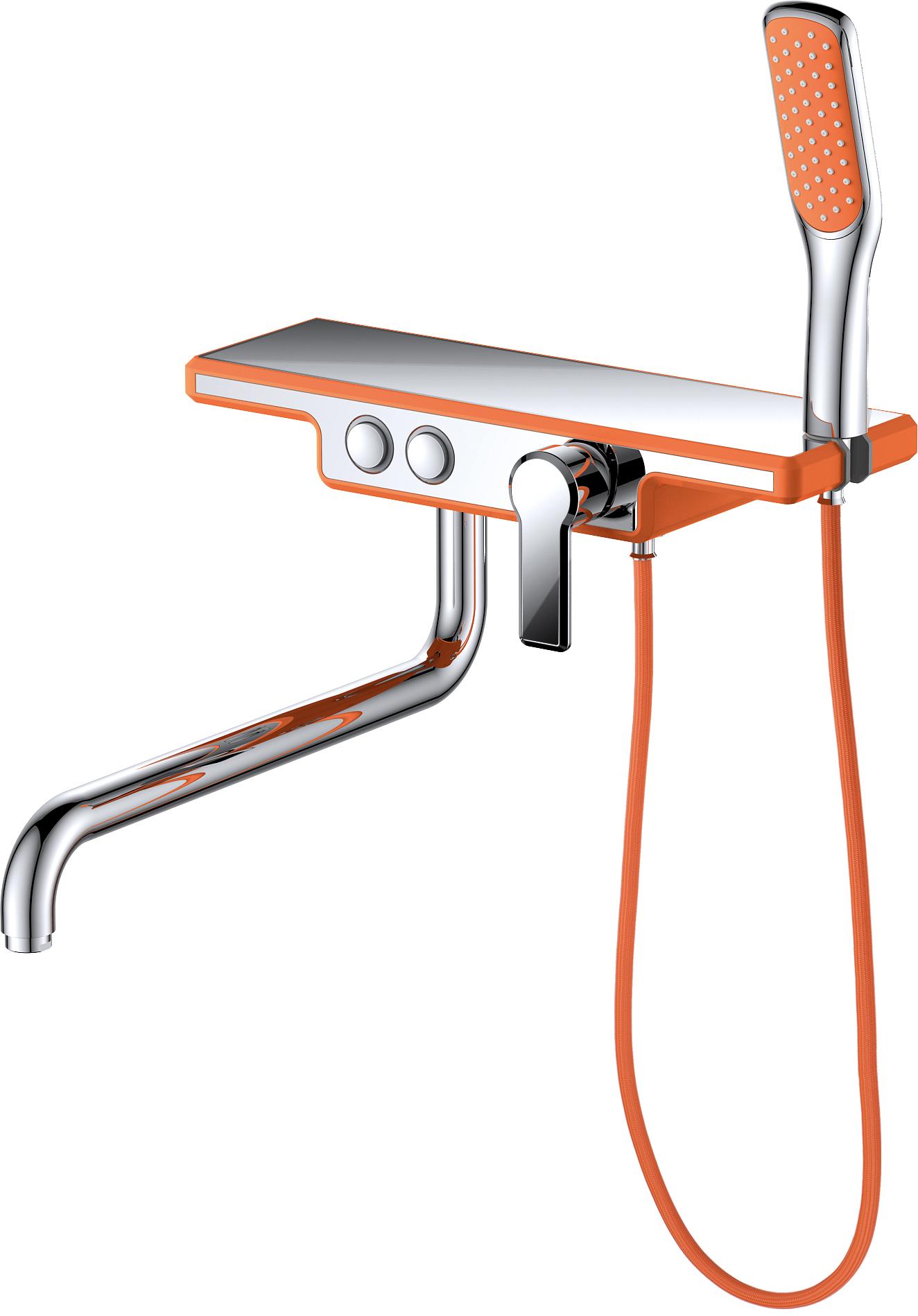 Смеситель для ванны с душем D&K Berlin.Kunste DA1443313 длинный излив оранжевый-хром
