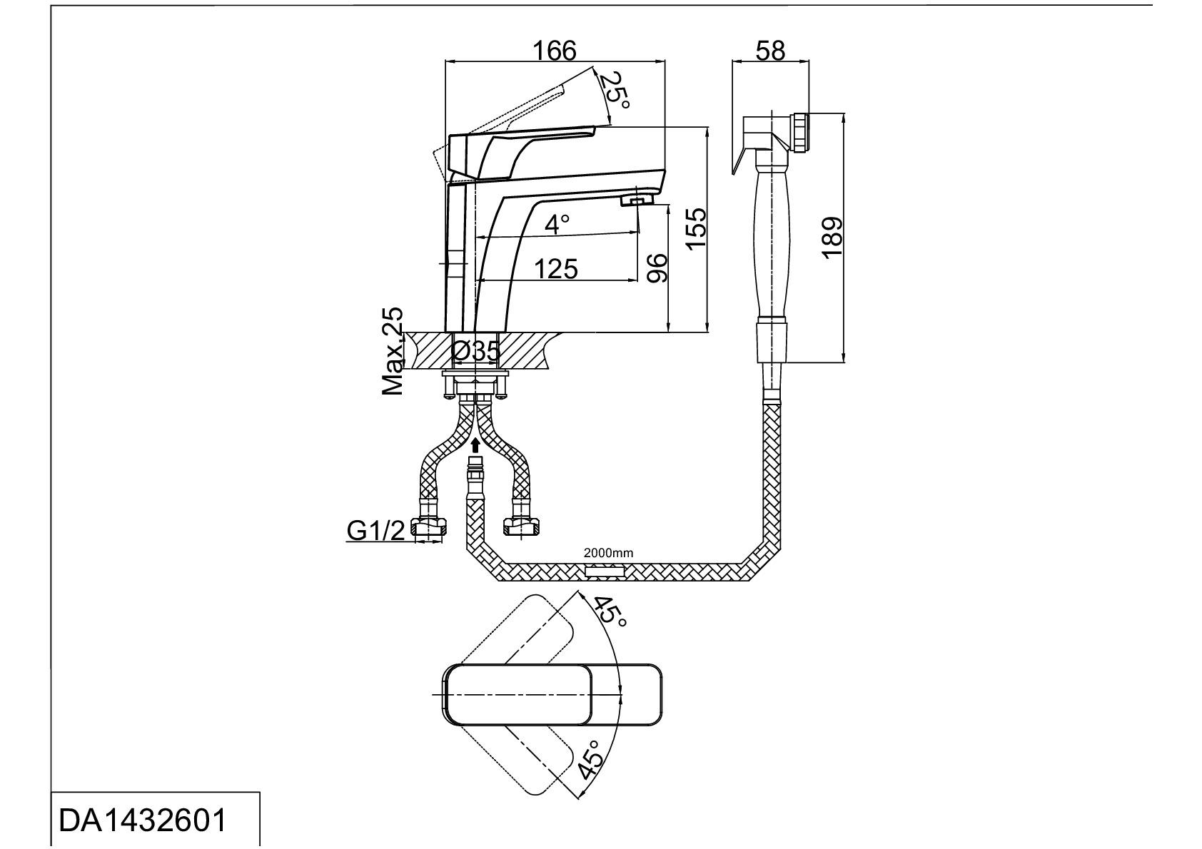 Смеситель для раковины D&K Berlin.Freie DA1432601 с гигиеническим душем хром