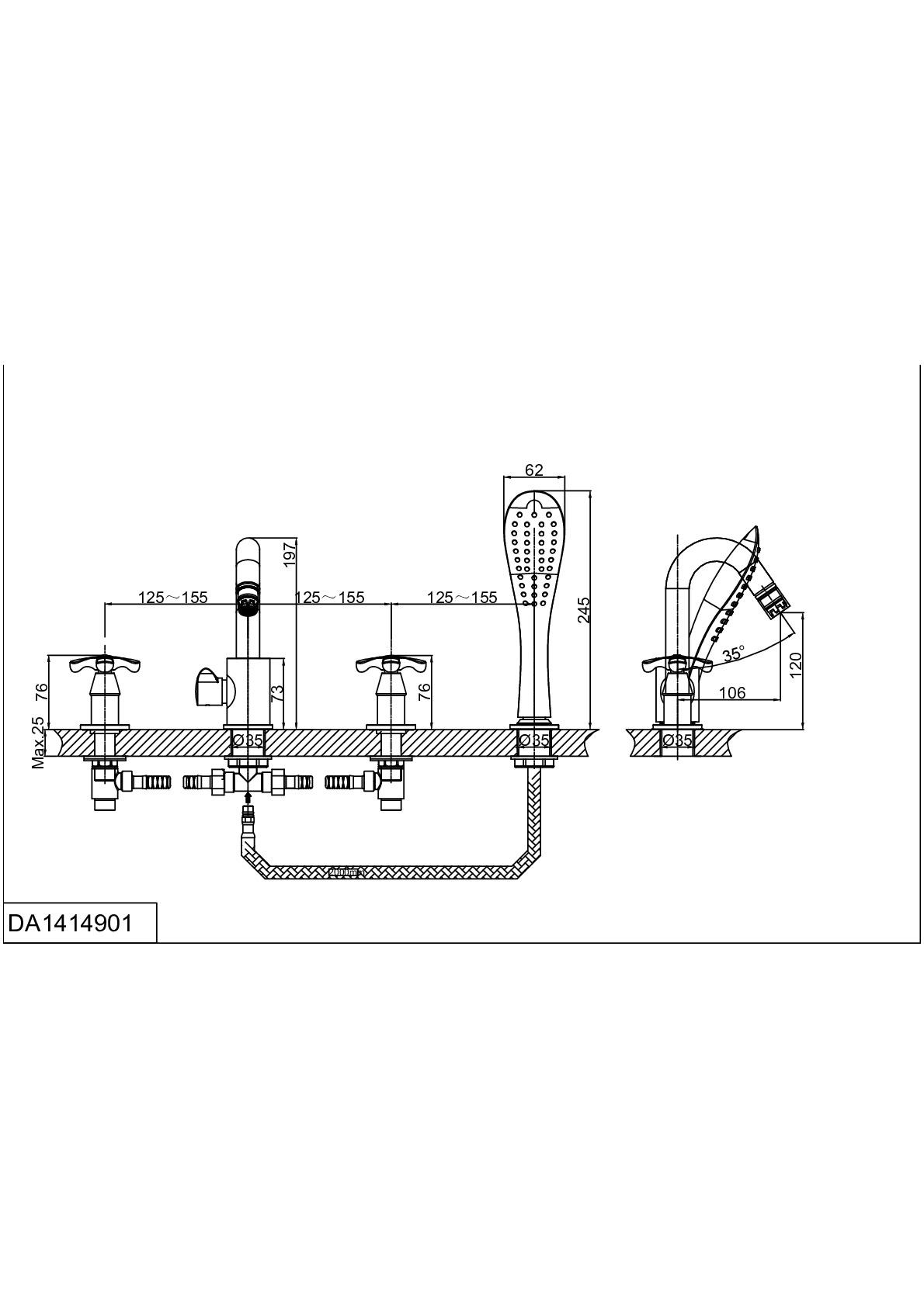 Смеситель на борт ванны D&K Hessen.Lorsch DA1414901 врезной хром