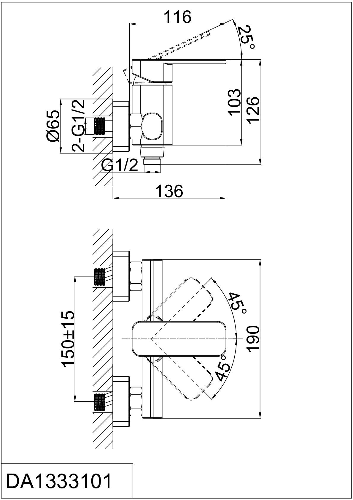 Смеситель для душа D&K Rhein.Altportel DA1333101 хром