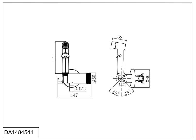 Смеситель для душа D&K Bayern.Alfeld DA1484541 с гигиеническим душем встраиваемый хром