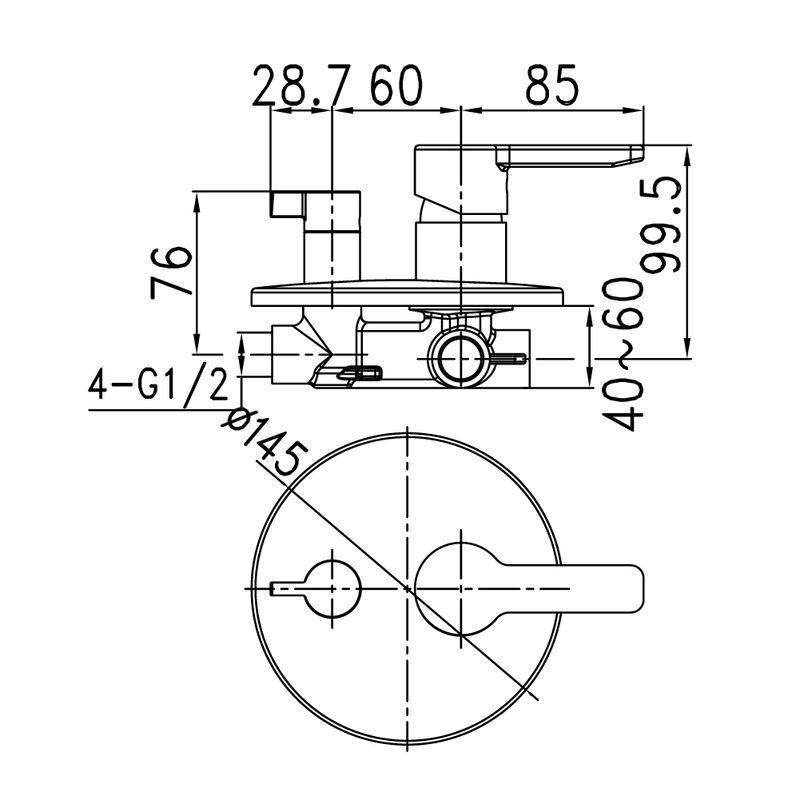 Встраиваемый смеситель с дивертором и двумя выходами, Sena, IDDIS, SENSB00i67