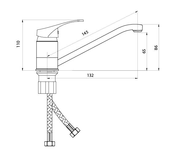 Смеситель Славен для мойки с коротким изливом (150 мм),одноручный. Р20