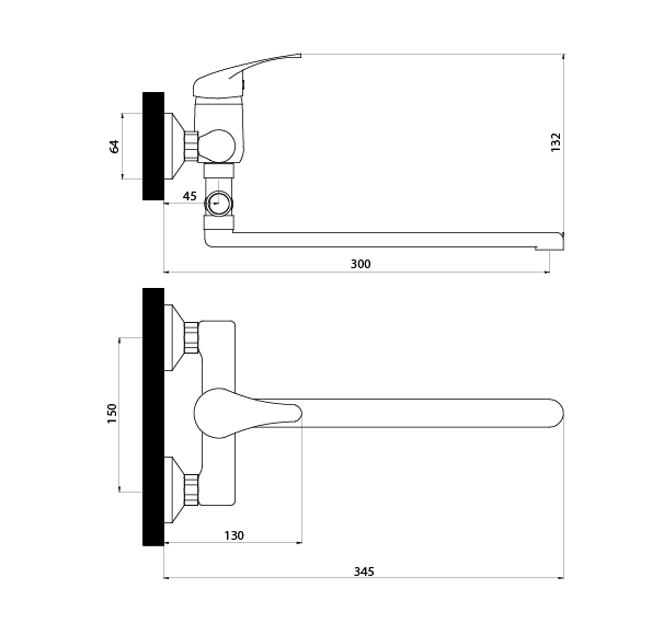 Смеситель Славен для ванны и умывальника универсальный с поворотным изливом, переключатель кнопочный, комплект, одноручный.П31