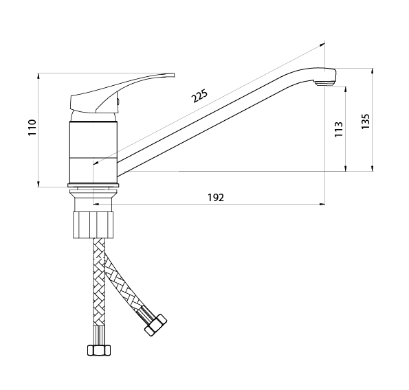 Смеситель Славен для мойки с длинным изливом (250 мм),одноручный.Р21