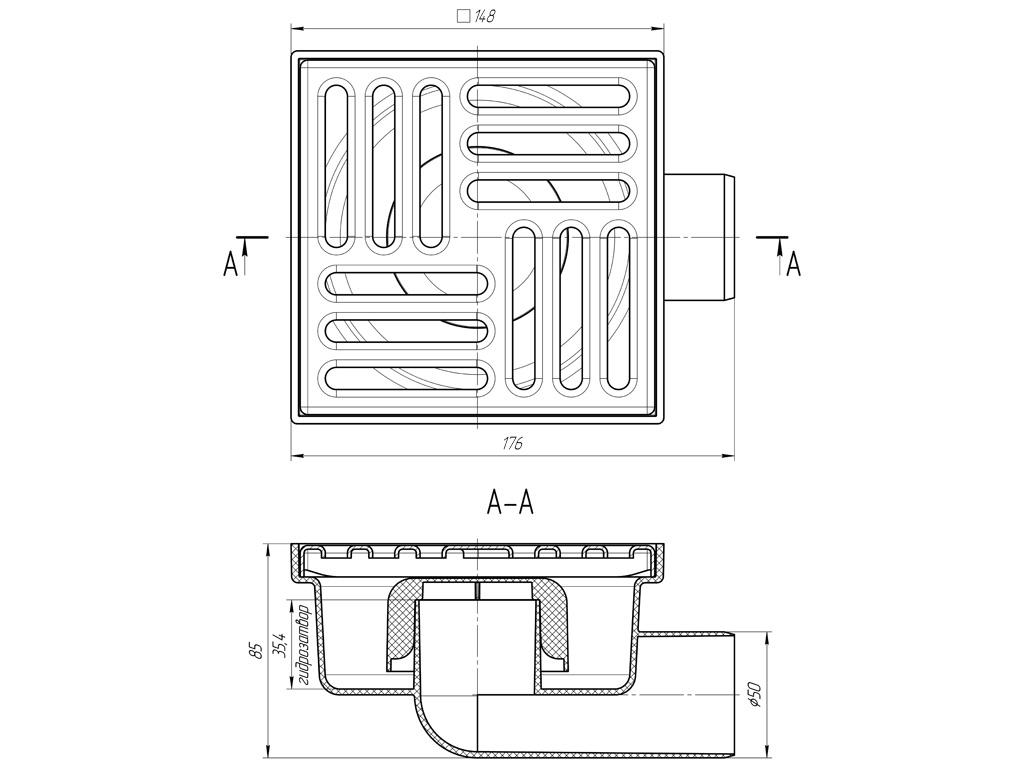 Душевой трап Анипласт TA5112 с гидрозатвором