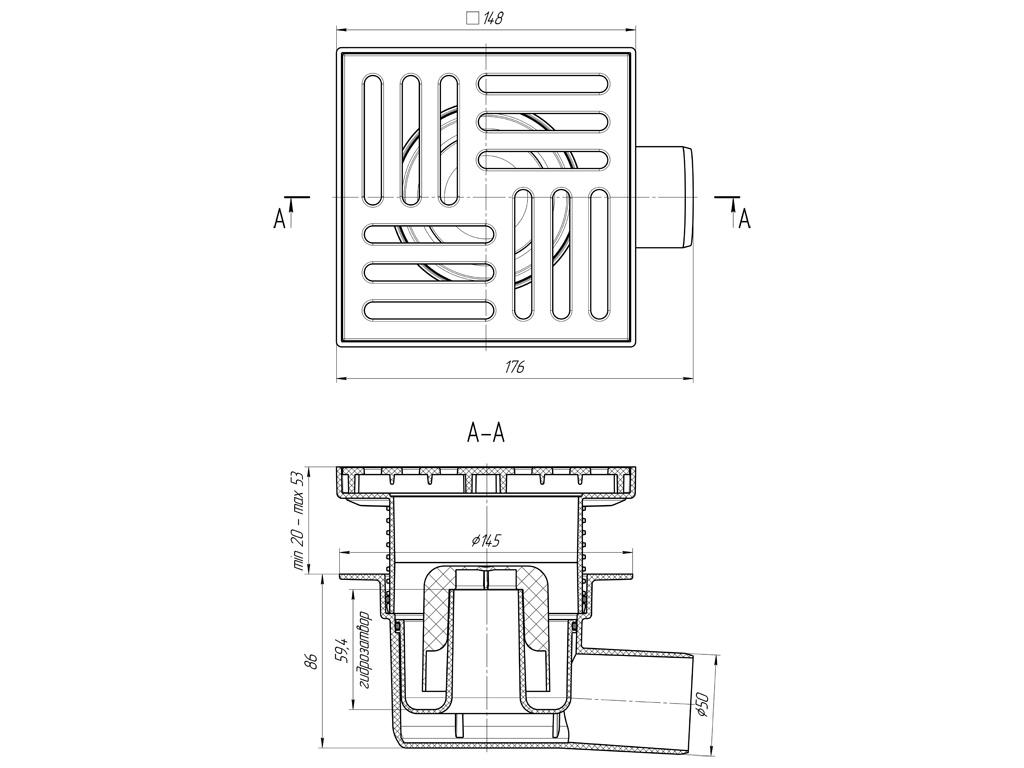 Душевой трап Анипласт TA5610 с гидрозатвором