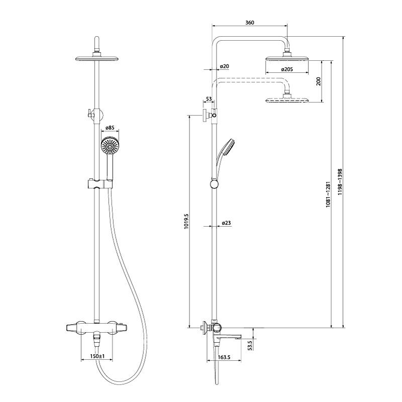 TORSBBTi06 , Cмеситель термостатический с верхним душем, Torr, ID
