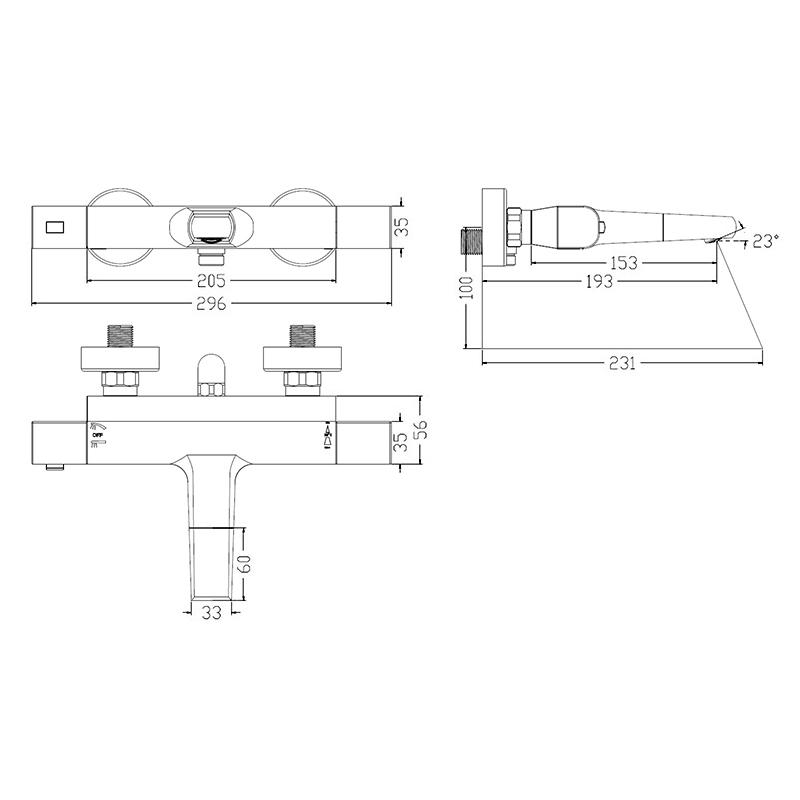 Универсальный смеситель для ванны с термостатом, Uniterm, IDDIS, UNISB02i74WA