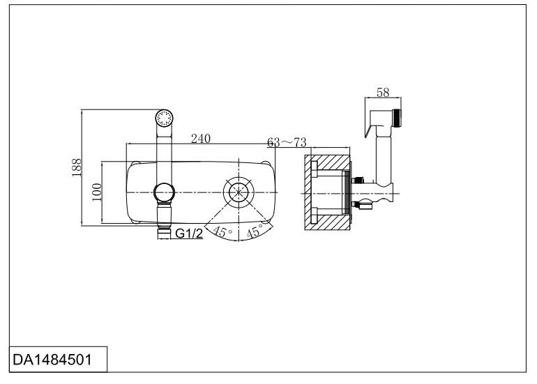 Смеситель для душа D&K Bayern.Alfeld DA1484501 с гигиеническим душем встраиваемый хром