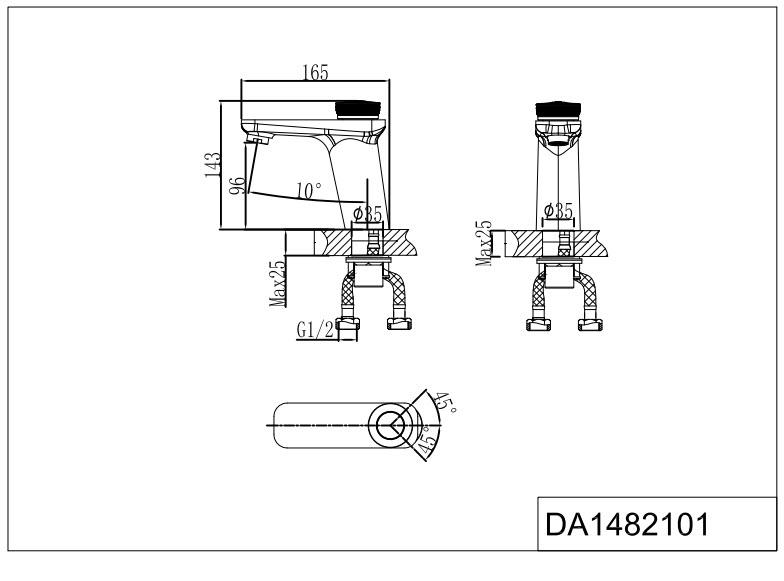 Смеситель для раковины D&K Bayern.Alfeld DA1482101 хром