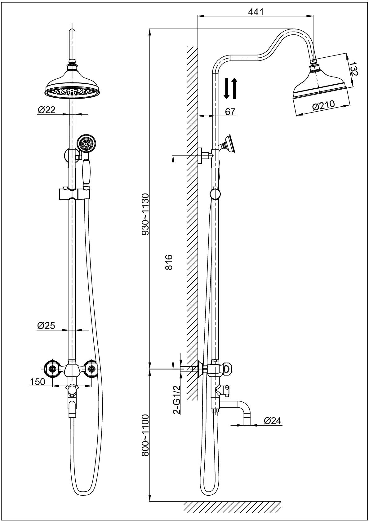 Душевая система D&K Hessen.Kassel DA1424701D08 хром