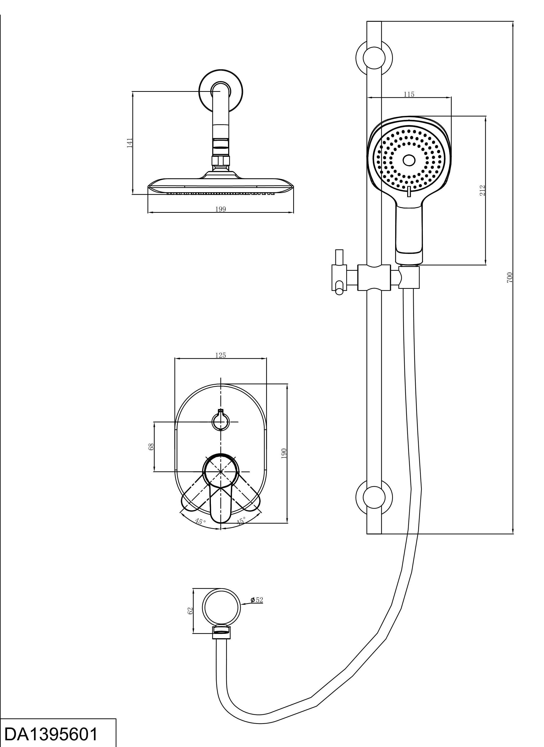 Смеситель для душа D&K Rhein.Marx DA1395601 встраиваемый хром