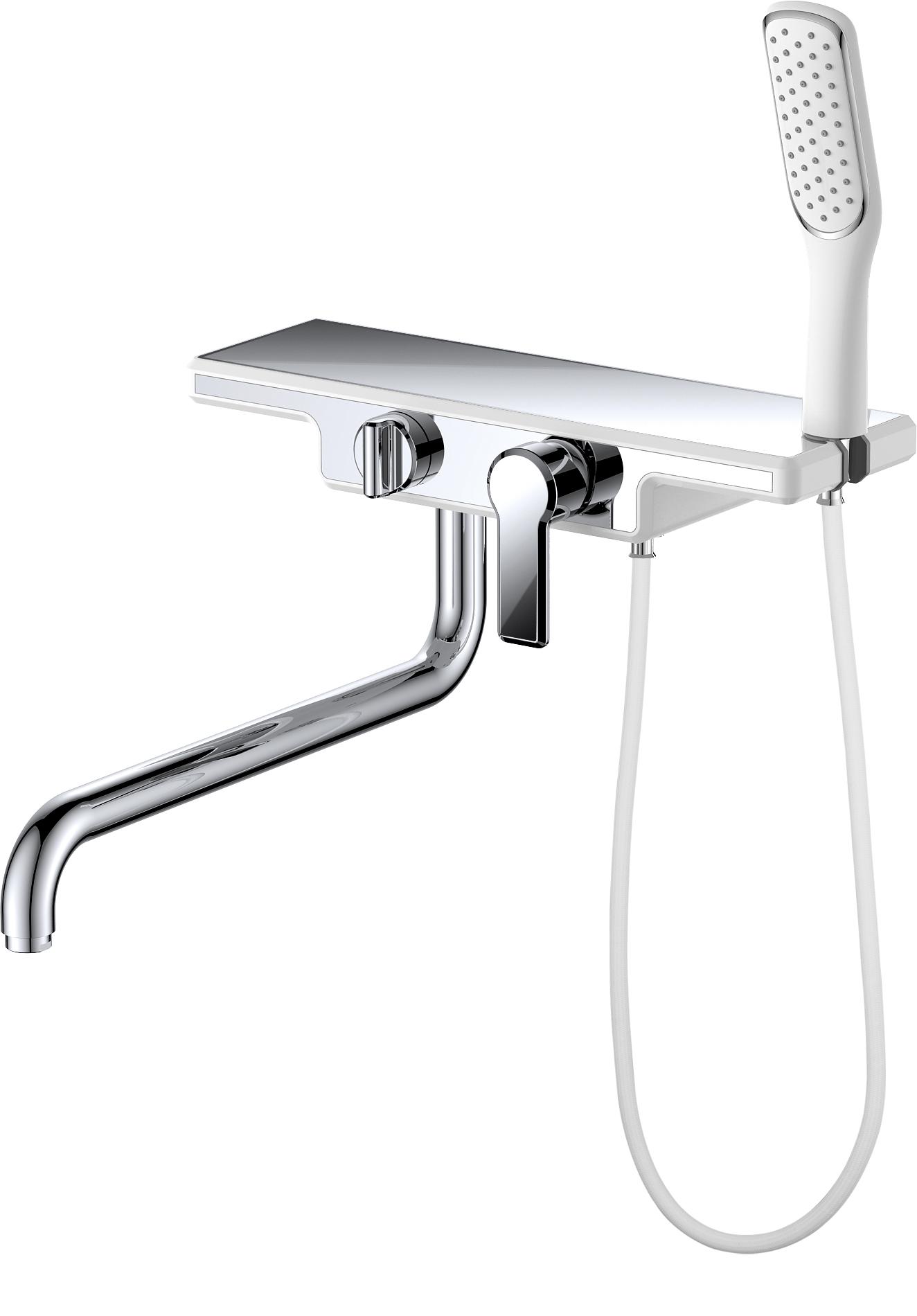 Смеситель для ванны с душем D&K Berlin.Steinbeis DA1453316 длинный излив белый-хром