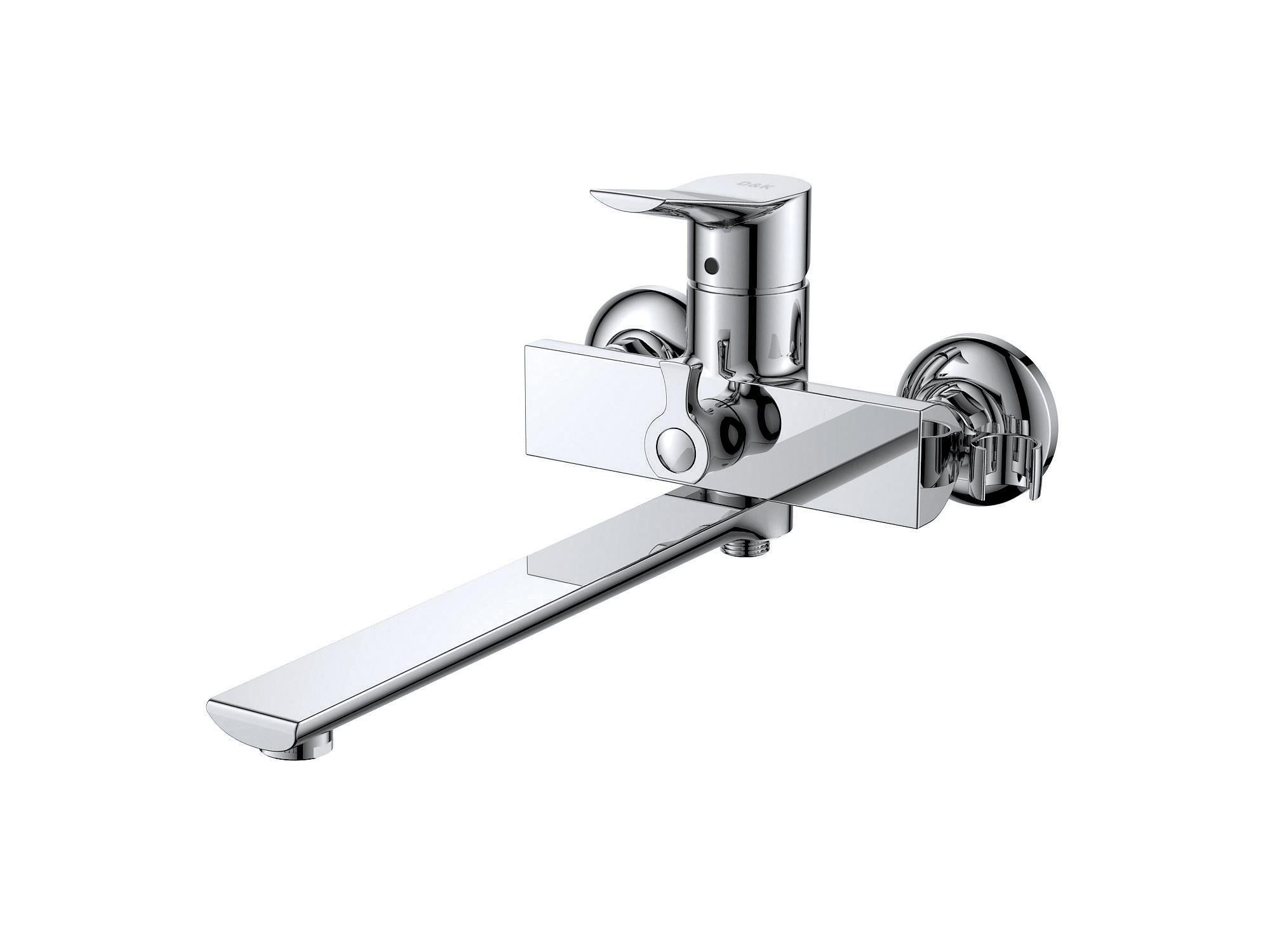 Смеситель для ванны с душем D&K Rhein.Mosel DA1263301 длинный излив хром