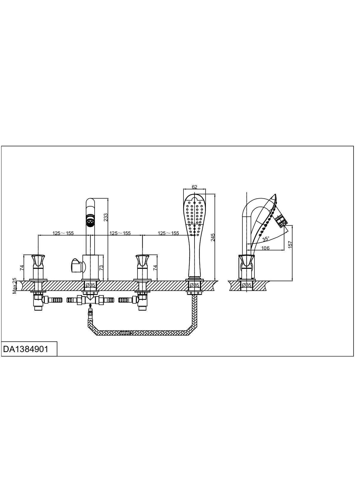 Смеситель на борт ванны D&K Hessen.Grimm DA1384901 врезной хром