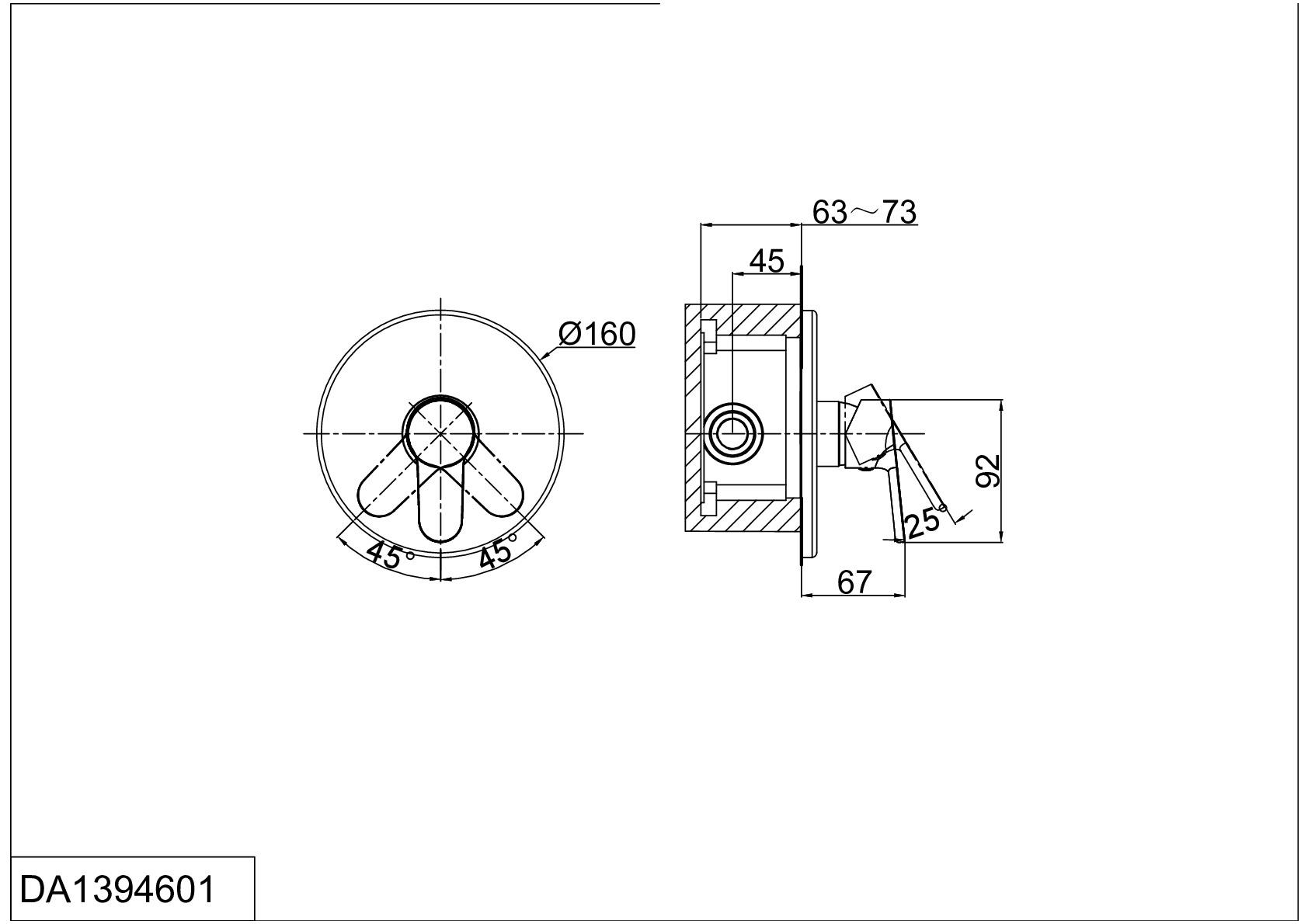Смеситель для ванны и душа D&K Rhein.Marx DA1394601 встраиваемый хром