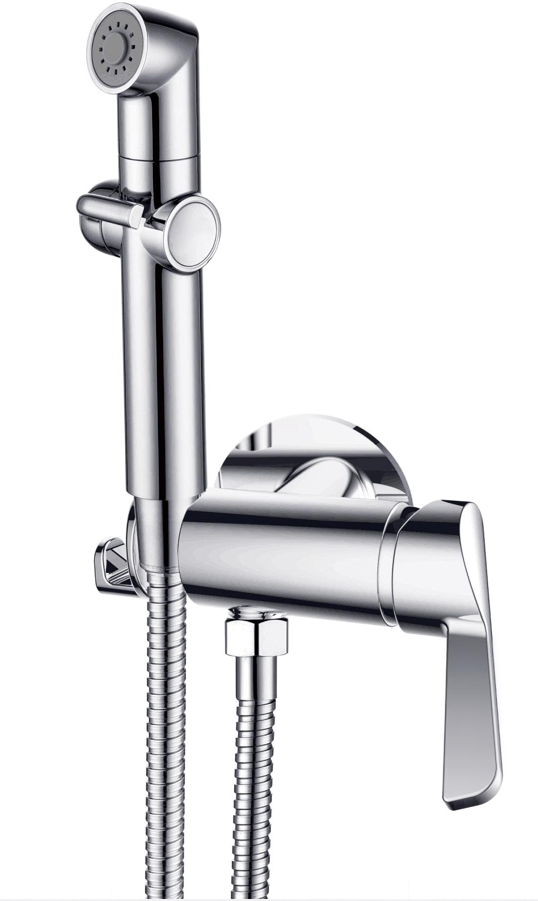 Смеситель для душа D&K Rhein.Schiller DA1464501 с гигиеническим душем встраиваемый хром