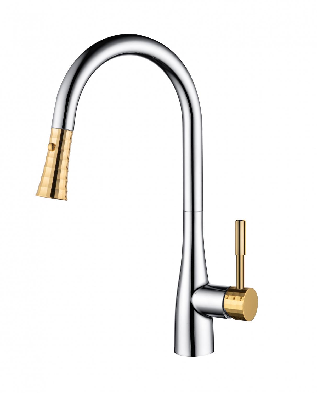 Смеситель для кухни D&K Rhein.Schiller DA1462504A с выдвижной лейкой хром золото