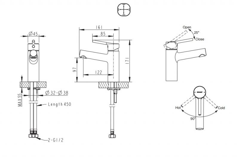 Смеситель для умывальника BRAVAT Palace F1172217CP-RUS