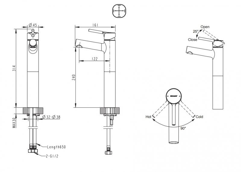 Смеситель для умывальника высокий BRAVAT Palace F1172217CP-A-RUS