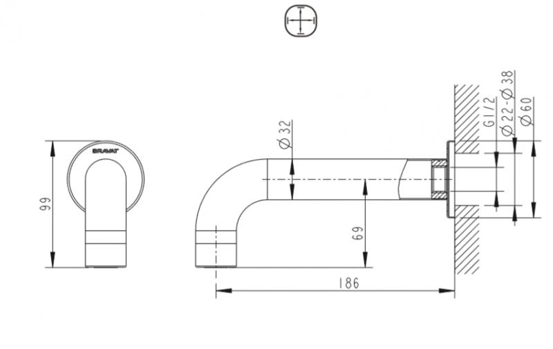 Излив BRAVAT Built-in FS101C-RUS