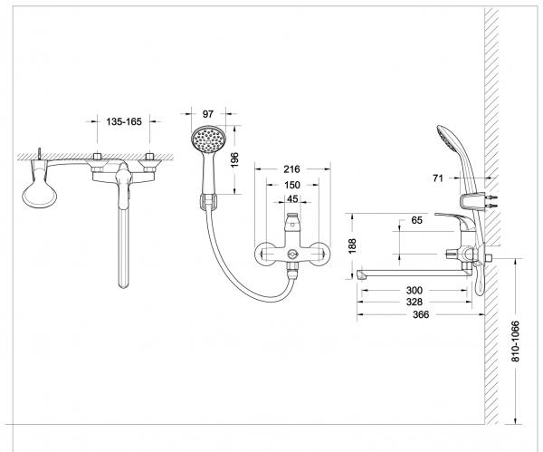 Смеситель для ванны длинный излив BRAVAT Fit F6135188CP-LB-RUS