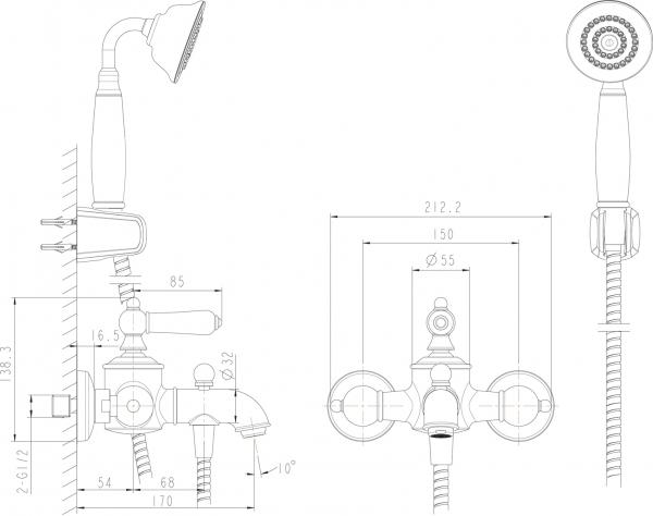Смеситель для ванны короткий излив BRAVAT Art F675109G-B